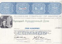 Aluminum Company of America. 100 shares. Pennsylvania. 1970's (blue)