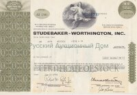 Studebaker - Worthington, Inc. Delaware. Stock certificate, more than 100 shares. 1970's (olive)