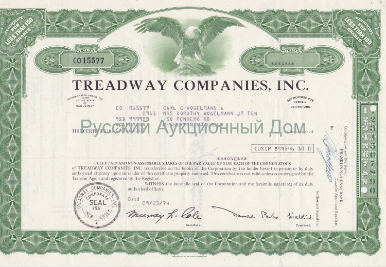 Treadway Companies, Inc. New Jersey. Less than 100 shares. 1970's