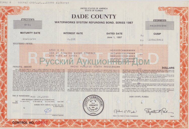 Dade County. Florida. Waterworks System Refunding Bond. 1980-1990's