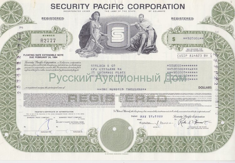Security Pacific Corporation. Delaware. Note. 1980's (green)